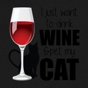 I Just Want To Drink Wine And Pet My Cat T Shirt - Men's V-Neck T-Shirt by Canvas