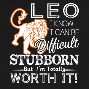 Leo Difficult Stubborn But Totally Worth It - Men's V-Neck T-Shirt by Canvas