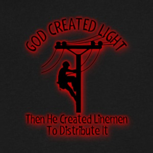 God Created Light - Funny Lineman Bible Design - Men's V-Neck T-Shirt by Canvas