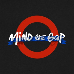 London Underground Funny Mind The Gap UK T Shirt - Men's V-Neck T-Shirt by Canvas