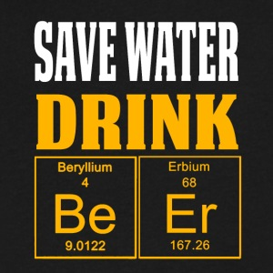 Funny Periodic Table Shirt Save Water Drink Beer Gold - Men's V-Neck T-Shirt by Canvas