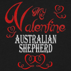 A romantic Valentine with my Australian Shepherd - Men's V-Neck T-Shirt by Canvas