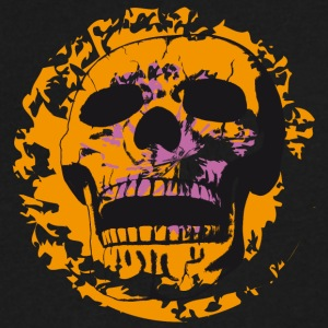 Skull on Color Patches - Men's V-Neck T-Shirt by Canvas