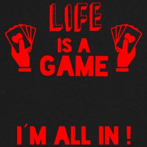 LIFE IS A GAME - IAM ALL IN red - Men's V-Neck T-Shirt by Canvas