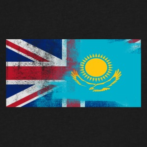 British Kazakhstani Half Kazakhstan Half UK Flag - Men's V-Neck T-Shirt by Canvas