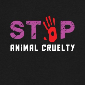 Stop animal cruelty - Men's V-Neck T-Shirt by Canvas