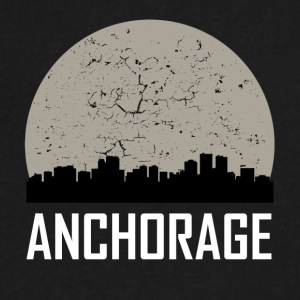 Anchorage Full Moon Skyline - Men's V-Neck T-Shirt by Canvas