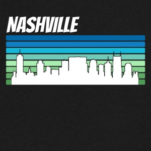 Retro Nashville Skyline - Men's V-Neck T-Shirt by Canvas