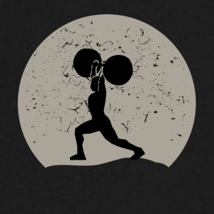 Weightlifting Full Moon - Men's V-Neck T-Shirt by Canvas