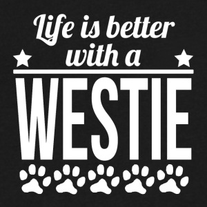 Life Is Better With A Westie - Men's V-Neck T-Shirt by Canvas