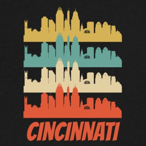 Retro Cincinnati OH Skyline Pop Art - Men's V-Neck T-Shirt by Canvas