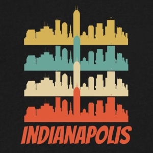 Retro Indianapolis IN Skyline Pop Art - Men's V-Neck T-Shirt by Canvas
