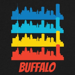 Retro Buffalo NY Skyline Pop Art - Men's V-Neck T-Shirt by Canvas
