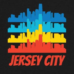 Retro Jersey City NJ Skyline Pop Art - Men's V-Neck T-Shirt by Canvas