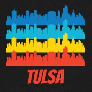 Retro Tulsa OK Skyline Pop Art - Men's V-Neck T-Shirt by Canvas