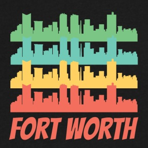 Retro Fort Worth TX Skyline Pop Art - Men's V-Neck T-Shirt by Canvas