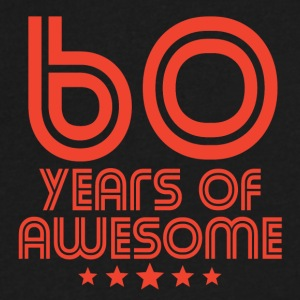 60 Years Of Awesome 60th Birthday - Men's V-Neck T-Shirt by Canvas