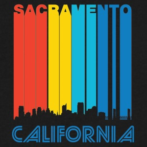 Retro Sacramento Skyline - Men's V-Neck T-Shirt by Canvas