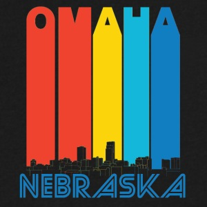 Retro Omaha Nebraska Skyline - Men's V-Neck T-Shirt by Canvas
