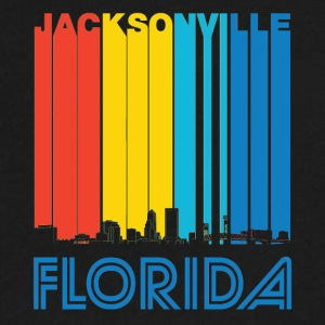 Retro Jacksonville Florida Skyline - Men's V-Neck T-Shirt by Canvas