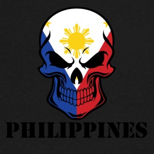 Filipino Flag Skull Philippines - Men's V-Neck T-Shirt by Canvas