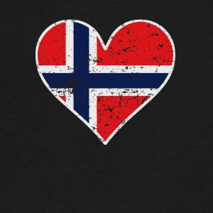 Distressed Norwegian Flag Heart - Men's V-Neck T-Shirt by Canvas
