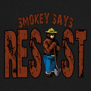 Smokey Says Resist Persisted Funny Bear - Men's V-Neck T-Shirt by Canvas