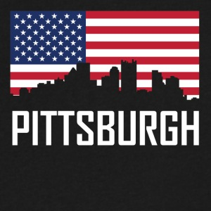 Pittsburgh Pennsylvania Skyline American Flag - Men's V-Neck T-Shirt by Canvas