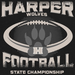 Harper Wolves H Football State Championship - Men's V-Neck T-Shirt by Canvas