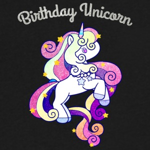 Birthday Unicorn For Girls Shiny Colorful Rainbow - Men's V-Neck T-Shirt by Canvas