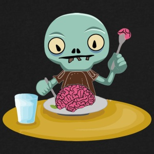 zombie kid eating brain - Men's V-Neck T-Shirt by Canvas