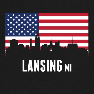 American Flag Lansing Skyline - Men's V-Neck T-Shirt by Canvas