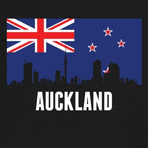 New Zealand Flag Auckland Skyline - Men's V-Neck T-Shirt by Canvas