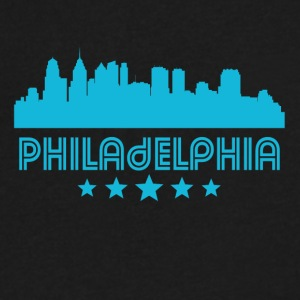 Retro Philadelphia Skyline - Men's V-Neck T-Shirt by Canvas