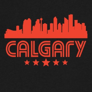 Retro Calgary Skyline - Men's V-Neck T-Shirt by Canvas