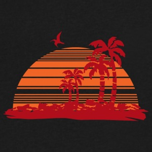Sundown and Palms - Men's V-Neck T-Shirt by Canvas