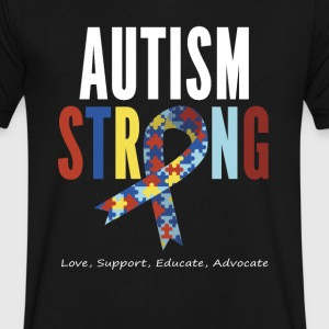 Autism Awareness T shirt For Mom / Dad/ Kid - Men's V-Neck T-Shirt by Canvas