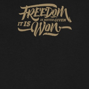 Freedom is never given it is won - Men's V-Neck T-Shirt by Canvas