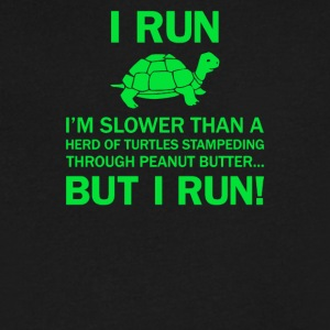 I RUN I AM SLOWER THAN A TURTLE - Men's V-Neck T-Shirt by Canvas