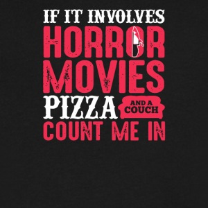If It involves horror movies pizza and a couch cou - Men's V-Neck T-Shirt by Canvas