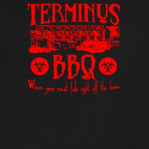 Terminus BBQ Funny Zombie Apocalypse - Men's V-Neck T-Shirt by Canvas