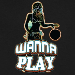 WANNA_PLAY_WITH_SEXY_GIRL_black - Men's V-Neck T-Shirt by Canvas