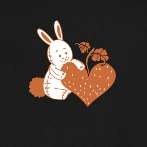 Valentine Rabbit with Heart - Men's V-Neck T-Shirt by Canvas