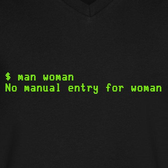 man woman. No manual entry for woman