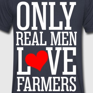 Only Real Men Love Farmers - Men's V-Neck T-Shirt by Canvas