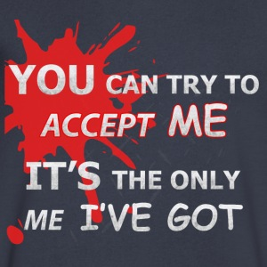 You Can Try To Accept Me (black) - Men's V-Neck T-Shirt by Canvas