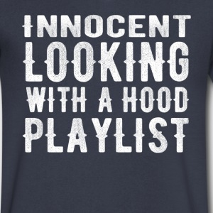 innocent looking with a hood playlist t-shirt - Men's V-Neck T-Shirt by Canvas
