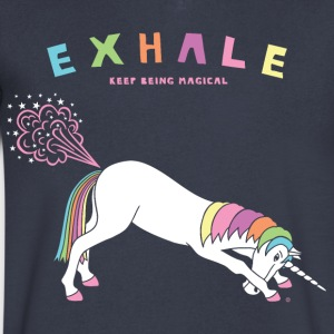 Down Dog Unicorn Exhale - Men's V-Neck T-Shirt by Canvas