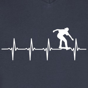 Skating - Heartbeat - Men's V-Neck T-Shirt by Canvas