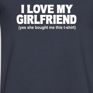I LOVE MY GIRLFRIEND FUNNY PRINTED MENS - Men's V-Neck T-Shirt by Canvas